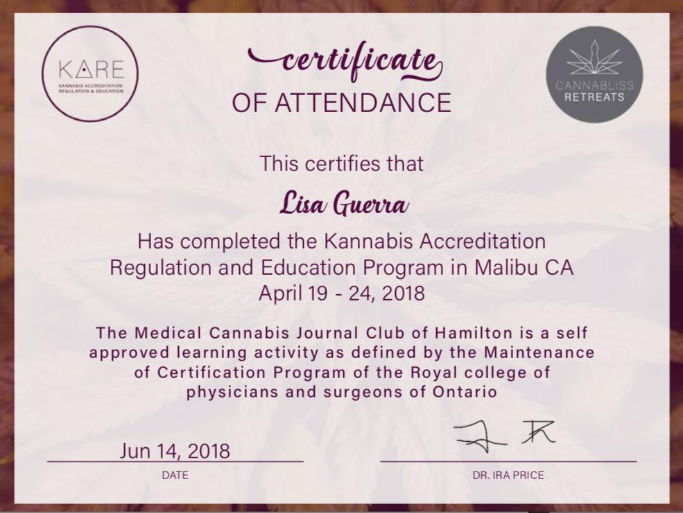 KARE Cannabis Certificate Dr Ira Price Canada cannabis